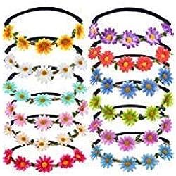 12 Piezas de Diadema de Guirnalda Floral Corona de Flores de Moda de Chicas de Multicolor para Festival Boda Fiesta