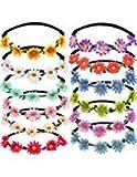 Bememo 12 Pezzi Multicolore Signora Ragazza Moda Corona di Fiori Fasce Floreali di Ghirlanda per Festival Matrimonio Festa