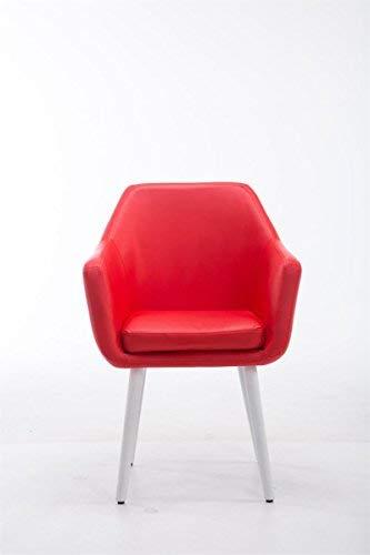 Clp sedia poltroncina utrecht in similpelle - poltrona da soggiorno con portata max 150 kg i sedia per sala attesa imbottita e telaio in legno di quercia rosso colore della base: bianco