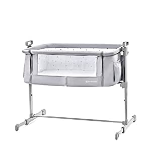 FYLO Jersey Fitted Sheet Compatible with Kinderkraft Neste Bedside Crib 55x90cm 2X Grey with White Stars