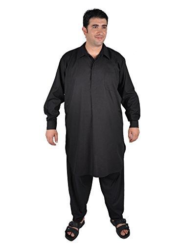 Zweiteiliges Herren-Salwar-Kameez- Set im Pakistani-Stil , schwarz (48-50 (M))