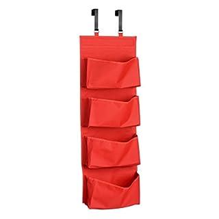 Livivo® Hängeregal mit 4geräumigen Taschen, zum Aufhängen an der Zimmertür, Schranktür, am Kleiderschrank oder an jeder anderen Schiene,leichtes und langlebiges Design, abwischbares Material rot