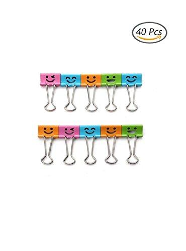 oaimyy sortiert Farbe Cute Lovely Smiling Face gefedert Datei Organizer Papier Halter Metall Binder Clips Multicolors-40Pcs -