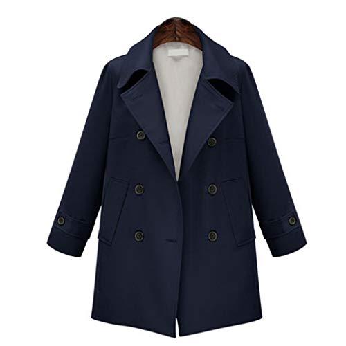 QingJiu Winter Damen Jacke Zweireiher Knopf Oberbekleidung Dame Revers Anzug Warmer Mantel
