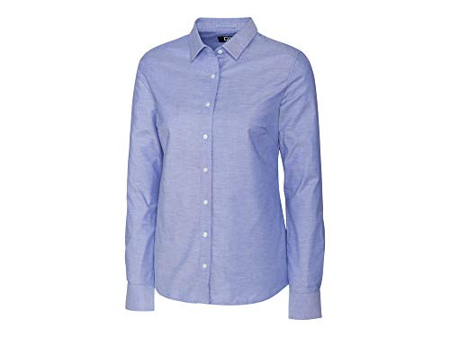 Button-down Woven Dress Shirt (Cutter & Buck Damen Wrinkle Resistant Stretch Long Sleeve Button Down Shirt Smokinghemd, French Blue Oxford, XX-Large)