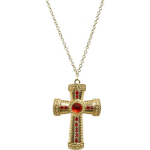 NET TOYS Kette mit Kreuz-Anhänger Nikolaus | Anhänger: 11cm x 7,5cm in Gold-rot | Majestätisches Unisex-Kostüm-Zubehör Bischof | Geeignet für Fasnet & Fasching