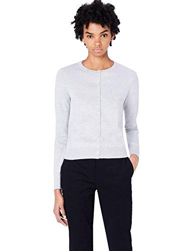 MERAKI Baumwoll-Strickjacke Damen mit Rundhals, Grau (Light Grey), 38 (Herstellergröße: Medium)