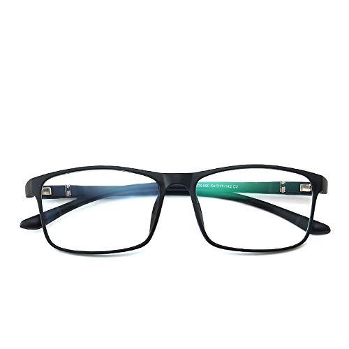 Yangjing-hl Brillengestell Retro quadratische Brillengestell Männer und Frauen Flache leichte Brillen Sand schwarzer Rahmen
