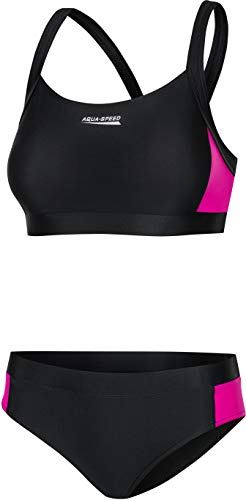 Aqua Speed Naomi Damen Tankini   Bikini Zweiteiler mit frischen Farben   Resistent gegen Chlor und Sonnencreme/-öl 18. Schwarz - Rosa 36
