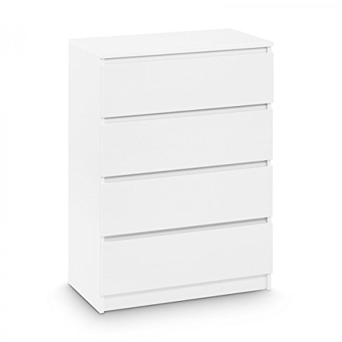 Galdem Kommode mit 4 Schubladen Sideboard Mehrzweckschrank Anrichte Diele Flur Esszimmer Wohnzimmer Weiß