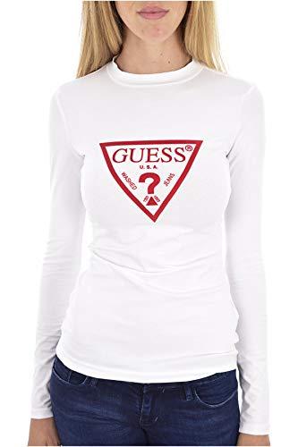 Guess Damen Ls Kumiko Tee T-Shirt, Weiß (True White A000 Twht), Medium