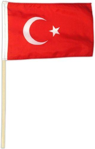Fahne Flagge Türkei 30 x 45 cm mit Stab