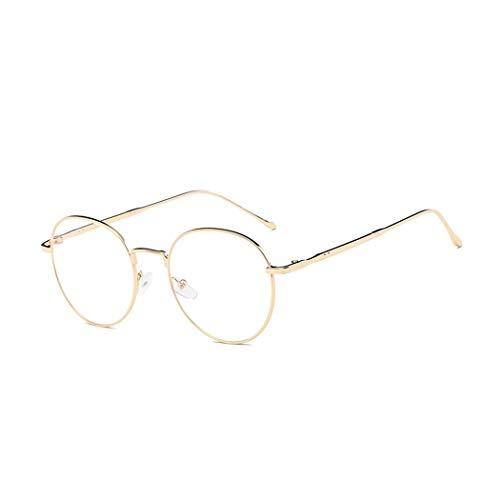 GUKOO Unisex Klassische Retro metallgestell durchsichtige brille runder spiegel Vintage Look clear lens