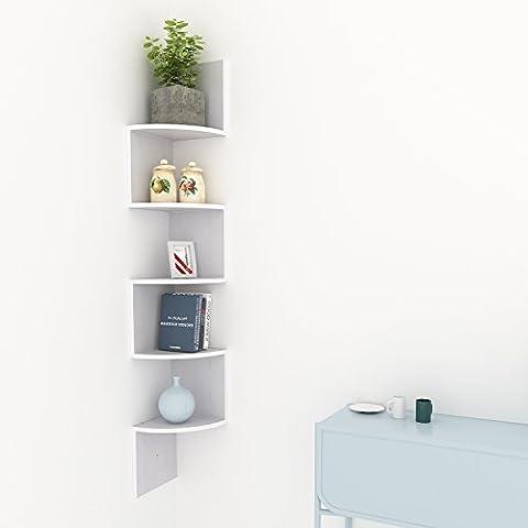 Homdox Corner Shelf 5 Tier Wall Mount Shelves(White Corner Shelf)