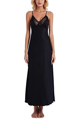 YAOMEI Damen Satin Lang Nachthemd Negliee Sleepshirt Schlafanzug Luxus Ladies Nachtwäsche Nachtkleid Lingerie Pyjamas Sleepwear (Large, Schwarz)
