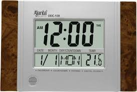 Ajanta Plastic Digital Wall Clock (29 cm x 19 cm x 2.5 cm, Brown)