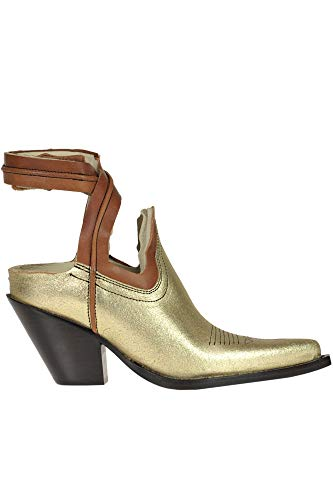 Maison Margiela Leather Texan Ankle-Boots Woman Gold 36 IT