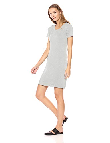 Amazon-Marke: Daily Ritual, T-Shirtkleid für Damen, kurzärmelig, Rundhalsausschnitt, Light Heather Grey, US XL (EU 2XL) -