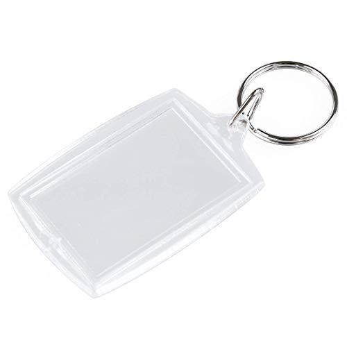 Sungpunet 10 pcs Transparent Acrylique Transparent Blank DIY Cadre Photo Keychain Porte-clés Forme rectangulaire Porte-clés