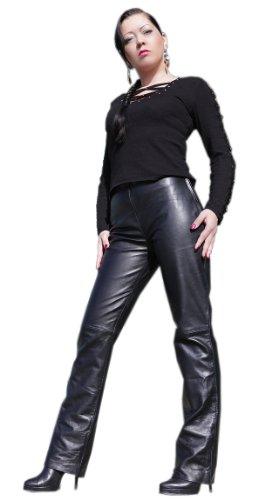 Satin Seitlicher Reißverschluss, Hose (Hose aus Lamm Nappa Leder mit seitlichen Reißverschlüssen L/16 Modell S44)