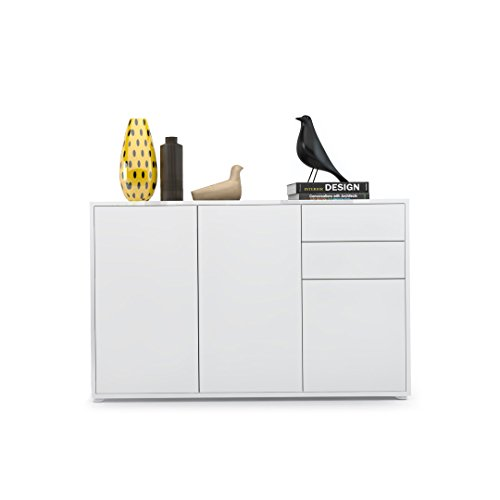 Kommode Sideboard Ben V3, Korpus in Weiß matt / Fronten in Weiß Matt - 2