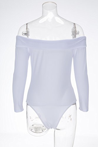Bigood Bodysuit Sexy Femme Jumpsuit Combinaison Sexy Epaule Nue Manche Longue Soirée Clubwear Blanc