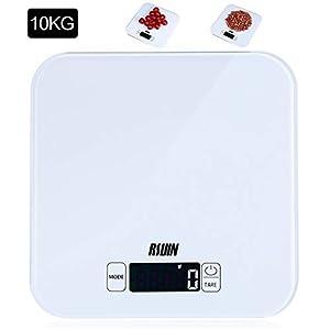RIUIN 10KG Digitale Küchenwaage praktische Haushaltswaage Lebensmittelwaage Gehärtetes Glas Sensor-Touch mit LCD Display Batterie Inklusive (Weiß)