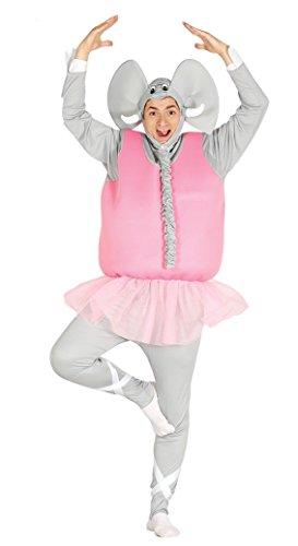 Fiestas guirca- costume da elefante ballerino adulto, colore grigio e rosa, large, 84607