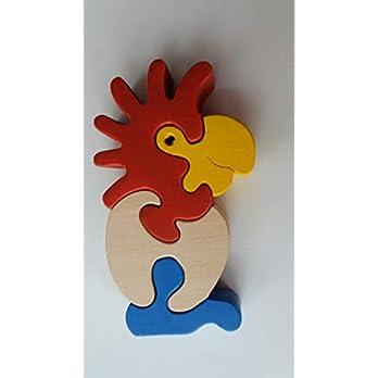 Holz puzzle Kakadu handgemachte exotischer Tier Vogel Papagei Geschenk für Kinder massiv Buchenholz Spielzeug