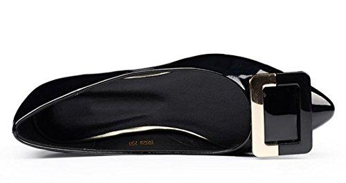 QIYUN.Z Les Femmes Casual Chaussures Shaalow Talon Plat Mode Boucle Chaussures Bout Pointu De La Cheville Noir