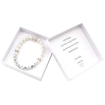 Brautmutter Geschenk Armband Perlen, Geschenkbox personalisiert