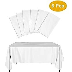 Kbnian 6*Manteles Desechables de Mesa Rectangular de Plástico, Semi-Transparente, Blanco, 137 * 274cm, Ideal para Fiesta de Cumpleaños, Navidad, Ducha de bebé y Boda