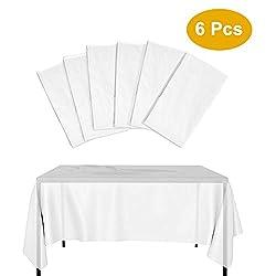 Kbnian 6 Stk Einweg-Tischdecke 2,3 x 1,50 m wasserdichte verdickte Kunststoff weiß durchscheinend Tischdecke rechteckig Tisch Outdoor Garten Tisch für Bankett Geburtstag Party Hochzeit Barbecue