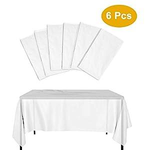KBNIAN 6 Stück Einweg Tischdecke Große Einweg-Tischdecken aus Weißem Kunststoff Wasserdichtes Verdicktes Rechteckige…