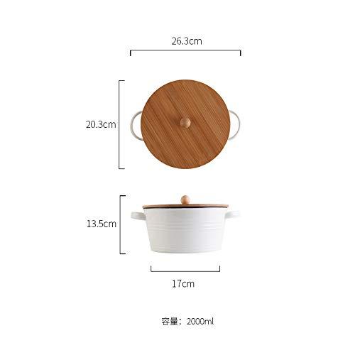 Kreative einfache Anti-Verbrühungs Keramik binaurale Schüssel mit Deckel Salatschüssel Instant Nudelschüssel Nordic Geschirr Frühstück Dessert Suppenschüssel mit Löffel 26,5x20,3 cm - Dessert-schalen Mit Löffel