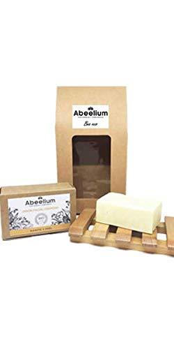 Abeelium - Pack Bee Eco   Jabon Facial Natural para una Limpieza Facial en Profundidad + Jabonera de Madera - Producto Natural y Ecológico   Hecho en España