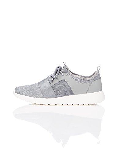 FIND Damen Sneaker mit Material-Mix Grau (Grey)