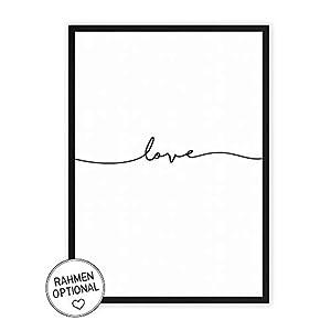 love - Kunstdruck auf wunderbarem Hahnemühle Papier DIN A4 -ohne Rahmen- schwarz-weißes Bild Poster zur Deko im Büro/Wohnung/als Geschenk Mitbringsel zum Geburtstag etc. - Liebe