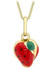Carissima Gold 9ct Yellow Gold Enamel Strawberry Pendant on Curb Chain Necklace of 46cm/18""