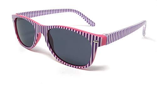 UltraByEasyPeasyStore Rosa mit weißen Streifen Klassische Sonnenbrille für Kinder UV400 Schutz Unisex UVA UVB Kinder Mädchen Jungen Shades
