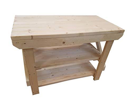 Banco da lavoro in legno acorn premium con doppio ripiano u m