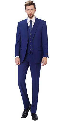 P&L Herren 3-teilige Klassische Passform Weste Anzug Jacke & Dehnbare Taille Kleid Hose - Blau - 50 Lange/34W -