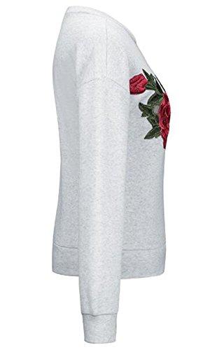 AILIENT Maglie Donna Rotondo Collo Comodo Stile Unico Moda Elegante Camicia A Manica Lunga Allentato Ricamato Maglietta Camicetta T Shirt Top Gray