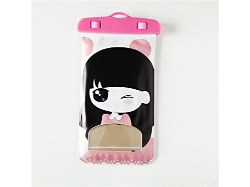 Cartoon Mädchen Muster hängenden Hals Frau wasserdichte Handytasche für Universal Phone bis zu 6 Zoll (Pink)