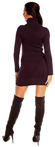 Zeta Ville - Damen Strick-kleid mit Rollkragen Minikleid Mit Tasche vorne 178z Lila