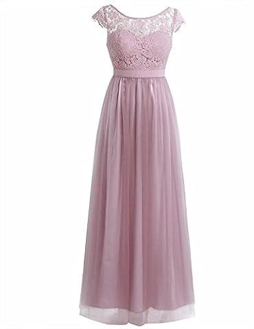 iiniim Women's Vintage Elegant Floral Lace Sleeveless Evening Prom Ball Gown Long Maxi Wedding Bridesmaid Dress Dusty Rose (Cap Sleeve)