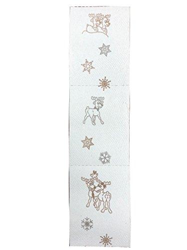 8 Rollen Wintertoilettenpapier von Mola mit Winterdurft und Rentierprägung (silber / goldfarbig) 3-lagig sanft und reissfestes Toilettenpapier