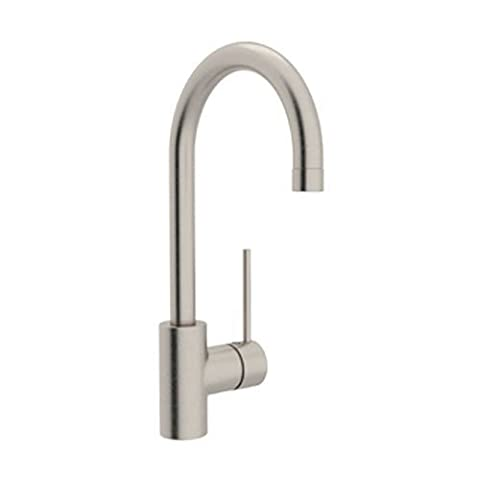 Rohl LS53L-STN-2 Modern Architectural Single Hole Side Mount Single Metal Lever C Spout Bar Faucet in Satin Nickel by Rohl