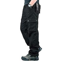 Hommes Pantalon Cargo Pantalon de Travail Style Militaire, Casual Pantalon Multi Poche Cargo Sports De Combat Pantalons en Coton pour Home, Noir, 40 (Tag size 32)