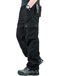 G-Anica Pantalones Cargo para Hombre, Pantalones de Trabajo con Multibolsillos para Trabajo Viaje